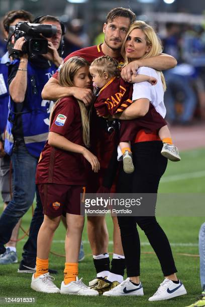 Francesco Totti with his wife Ilary Blasi and his daughters Isabel and Chanel during his last match with AS Roma Olympic stadium Rome May 28th 2017