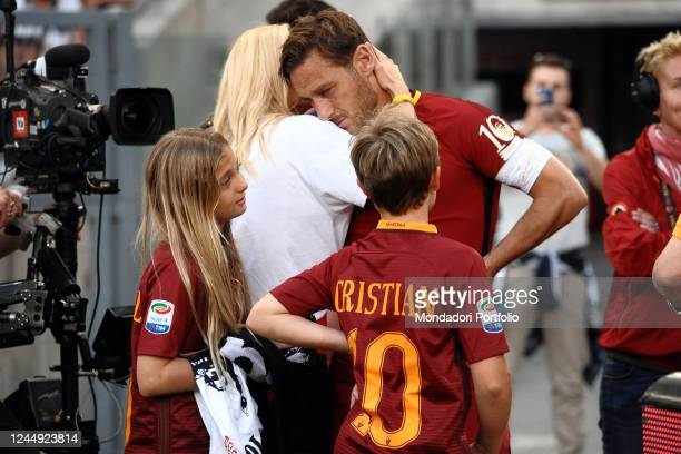 Francesco Totti with his wife Ilary Blasi and their children Chanel and Cristian during his last match with AS Roma Olympic stadium Rome 28 May 2017