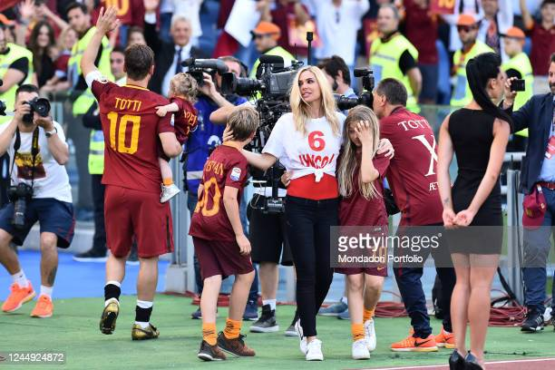Francesco Totti with his wife Ilary Blasi and their children Chanel Isabel and Cristian during his last match with AS Roma Olympic stadium Rome May...