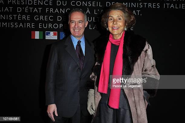 Francesco Trapani Bulgari CEO and Liliane Bettencourt attend the Exhibition Launch for Bulgari 125th Anniversary Celebration at Grand Palais on...