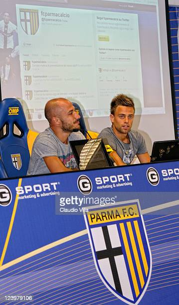 Francesco Valiani and Daniele Galloppa of Parma FC during the press conference to present Parma FC's new webite at Stadio Ennio Tardini on September...