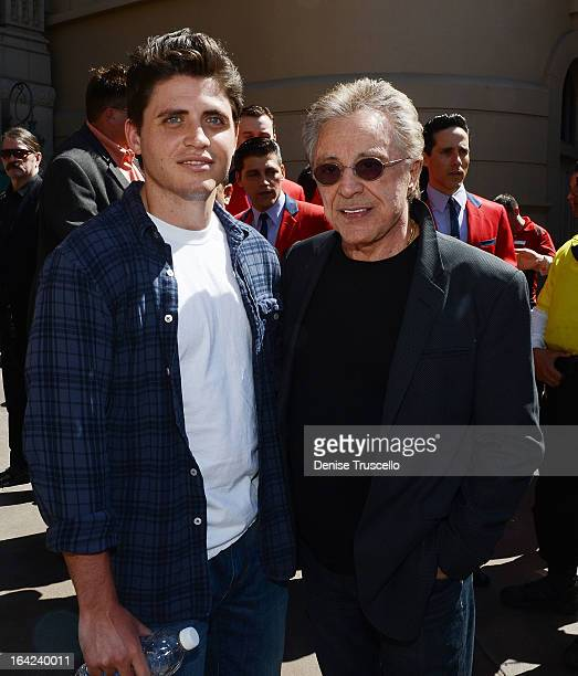 Francesco Valli and his father Frankie Valli attend Frankie Valli And The Four Seasons star unveiling at the Las Vegas Walk Of Stars in front of...