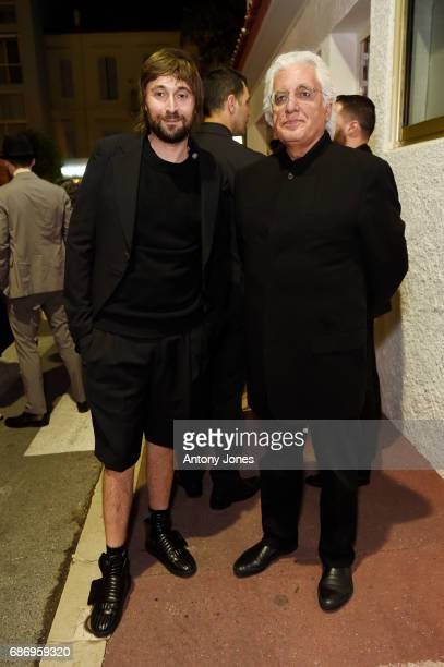 Francesco Vezzoli and Germano Celant attend Fondazione Prada Private Dinner during the 70th annual Cannes Film Festival at Restaurant Fred L'Ecailler...