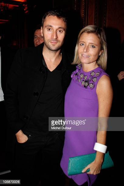 Francesco Vezzoli and Valentina Castellani Gagosian attend the Larry Gagosian Gallery Opening party on October 19 2010 in Paris France