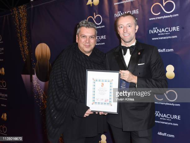 Francesco Vitali and Prince MarioMax SchaumburgLippe speak attend the 48 Independent Short Film Festival Awards at the DGA Theater on February 14...