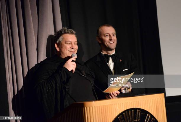 Francesco Vitali and Prince MarioMax SchaumburgLippe speak on stage at the 48 Independent Short Film Festival Awards at the DGA Theater on February...