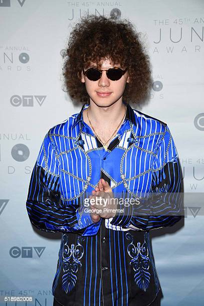 Francesco Yates arrives at the 2016 Juno Awards at Scotiabank Saddledome on April 3 2016 in Calgary Canada