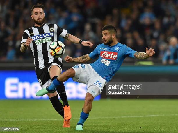 Francesco Zampano of Udinese Calcio and Lorenzo Insigne of SSC Napoli in action during the Serie A match between SSC Napoli and Udinese Calcio at...