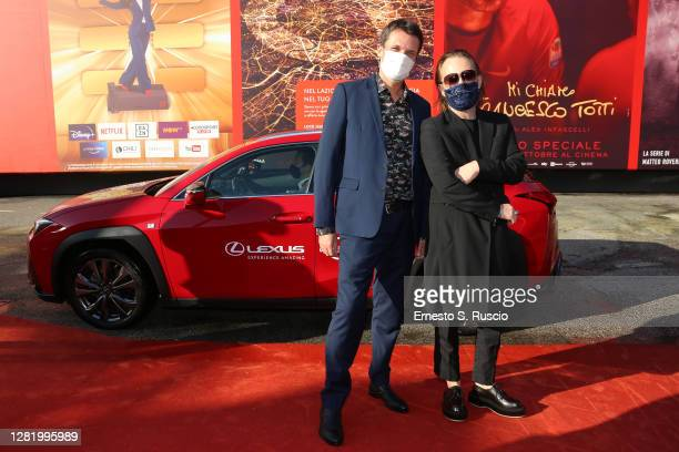 "Francesco Zippel and Thom Yorke arrive on the red carpet ahead of the ""Incontro Yorke"" screening during the 15th Rome Film Fest on October 24, 2020..."