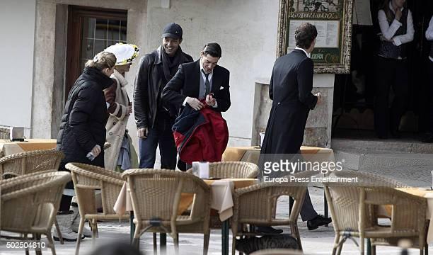 Franceso Testi Cecilia Freire Charlotte Vega Adrian Lastra and Peter Vives are seen during the set filming of 'Galerias Velvet' on December 14 2015...