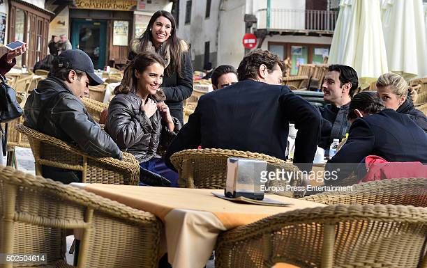 Franceso Testi Paula Echevarria Cecilia Freire and Javier Rey are seen during the set filming of 'Galerias Velvet' on December 14 2015 in Madrid Spain