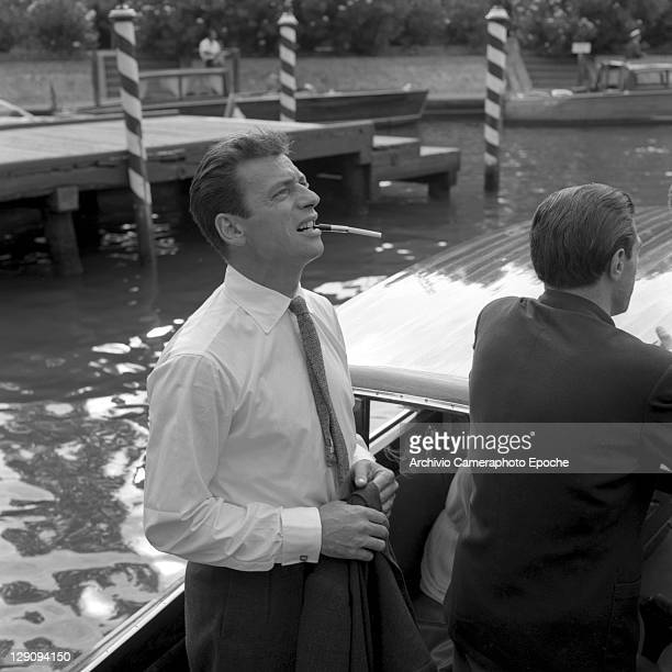 Franch singer Yves Montand in Venice 1955