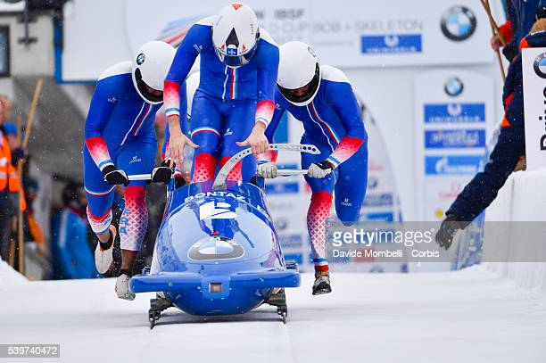 Franch team COSTERG Loic PUJAR Yannis CASTELL Vincent BOUTHERIN Jeremie FRA BMW IBSF World Cup Bob 2015/2016 St Moritz Swiss