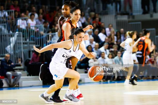 Franchelin Coline of Lyon and Ouvina Madrego Cristina of Bourges during the Women's League Semi Final Second Leg match between Lyon Asvel Feminin and...