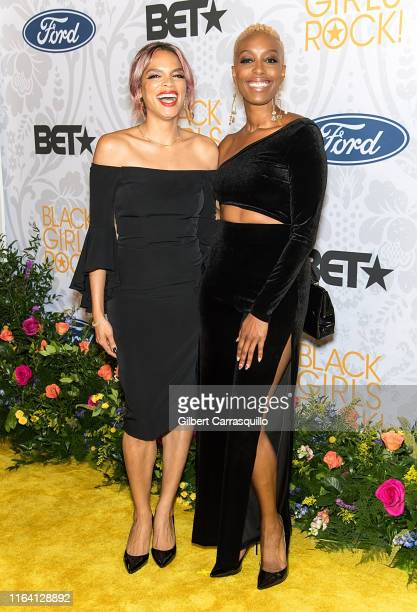 Franchesca Ramsey and guest attend 2019 Black Girls Rock! at NJ Performing Arts Center on August 25, 2019 in Newark, New Jersey.