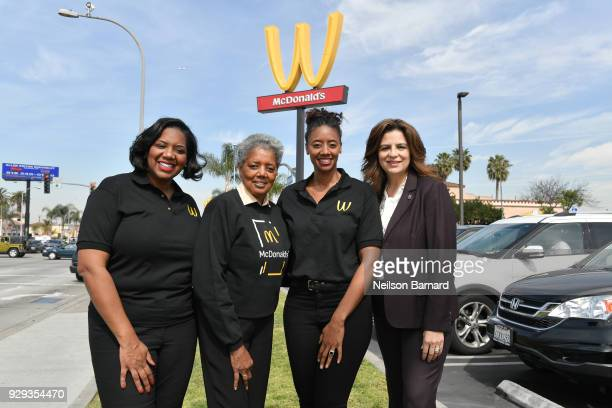 Franchise owners Nicole Enearu Patricia Williams and Kerri HarperHowie and McDonaldÕs VP and General Manager Ofelia MelendrezKumpf pose outside one...