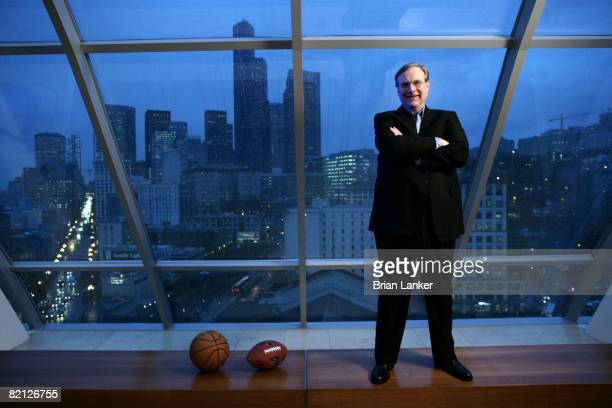 Franchise Owners Portrait of Portland Trail Blazers team and Seattle Seahawks team owner Paul Allen in office at 505 Union Station Scenic view of...