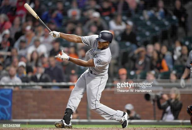 Franchy Cordero of the San Diego Padres bats against the San Francisco Giants in the top of the fourth inning at ATT Park on July 21 2017 in San...
