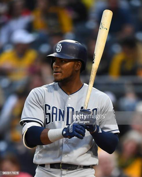 Franchy Cordero of the San Diego Padres bats during the game against the Pittsburgh Pirates at PNC Park on May 18 2018 in Pittsburgh Pennsylvania