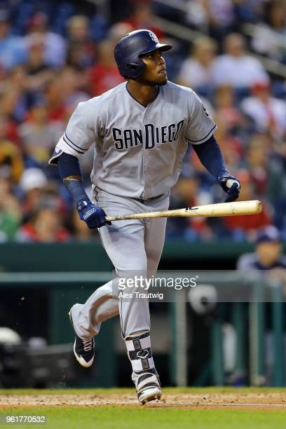 Franchy Cordero of the San Diego Padres hits a solo home run during a game against the Washington Nationals at Nationals Park on Tuesday May 22 2018...