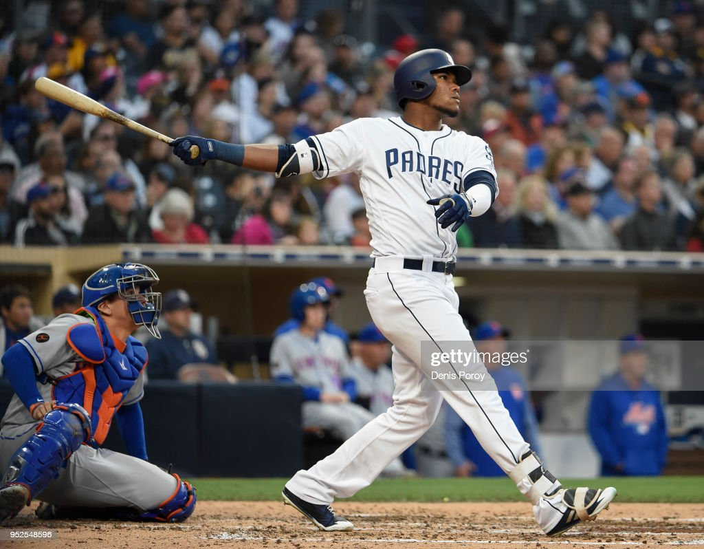 Franchy Cordero #33 of the San Diego Padres hits a three-run home run during the fourth inning of a baseball game against the New York Mets at PETCO Park on April 28, 2018 in San Diego, California.