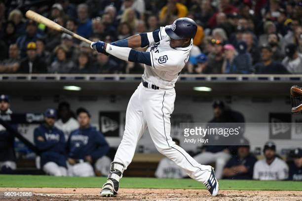 Franchy Cordero of the San Diego Padres hits during the game against the Washington Nationals at PETCO Park on May 8 2018 in San Diego California...