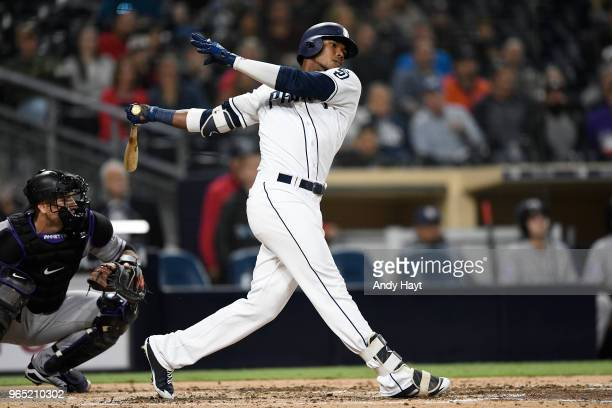 Franchy Cordero of the San Diego Padres hits during the game against the Colorado Rockies at PETCO Park on May 14 2018 in San Diego California