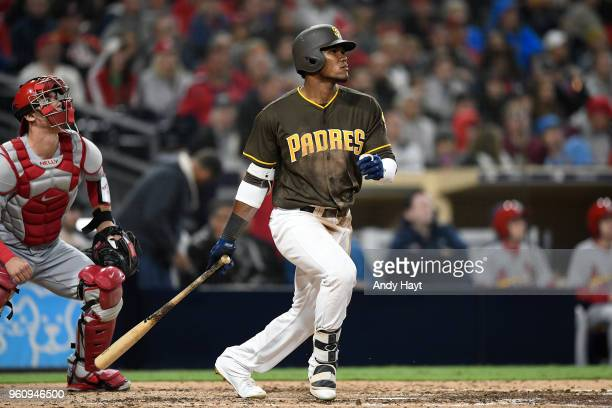 Franchy Cordero of the San Diego Padres hits during to the game against the St Louis Cardinals at PETCO Park on May 11 2018 in San Diego California...
