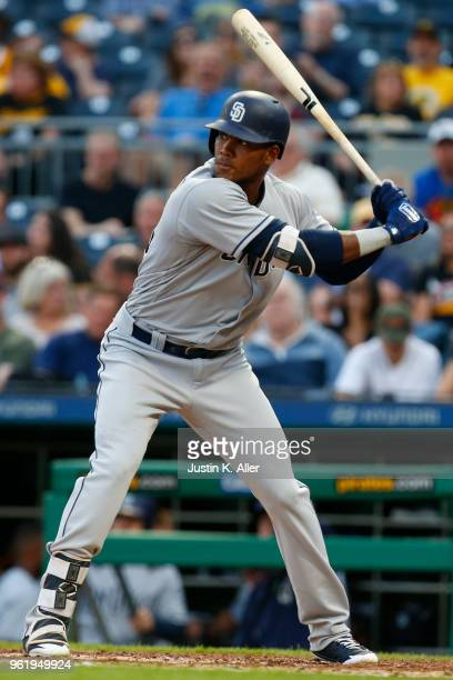 Franchy Cordero of the San Diego Padres in action against the Pittsburgh Pirates at PNC Park on May 17 2018 in Pittsburgh Pennsylvania Franchy Cordero