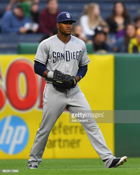 Franchy Cordero of the San Diego Padres in action during the game against the Pittsburgh Pirates at PNC Park on May 18 2018 in Pittsburgh Pennsylvania