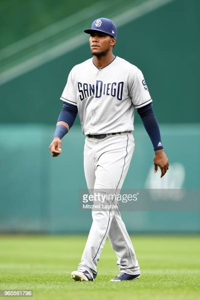 Franchy Cordero of the San Diego Padres looks on before a baseball game against the Washington Nationals at Nationals Park on May 22 2018 in...