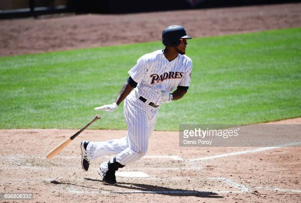 Franchy Cordero of the San Diego Padres plays during a baseball game against the Cincinnati Reds at PETCO Park on June 14 2017 in San Diego California