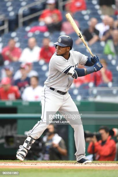 Franchy Cordero of the San Diego Padres prepares for a pitch during a baseball game against the Washington Nationals at Nationals Park on May 22 2018...