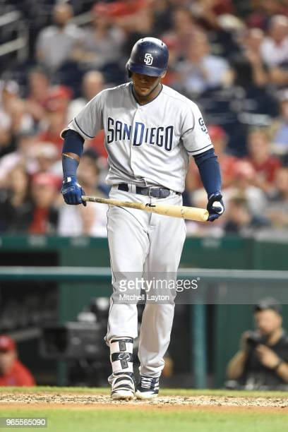 Franchy Cordero of the San Diego Padres reacts to pitch during a baseball game against the Washington Nationals at Nationals Park on May 22 2018 in...