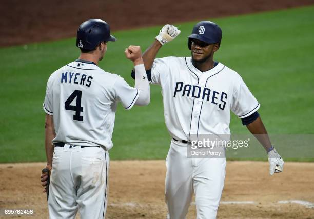 Franchy Cordero of the San Diego Padres right is congratulated by Wil Myers after hitting a solo home run during the seventh inning of a baseball...