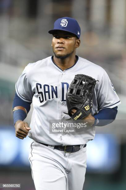 Franchy Cordero of the San Diego Padres runs back to the dug out during a baseball game against the Washington Nationals at Nationals Park on May 22...