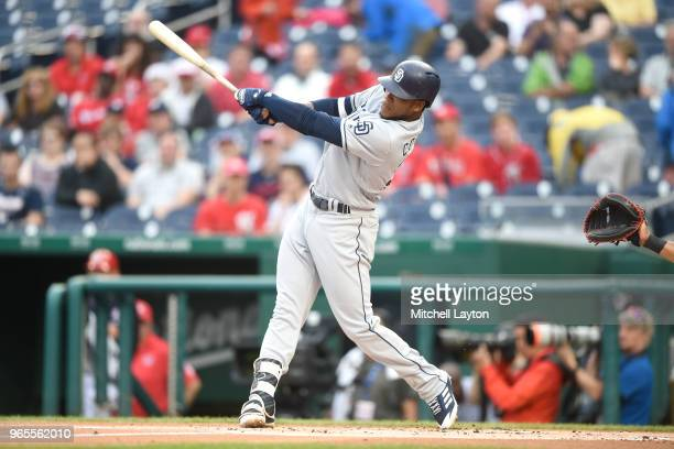 Franchy Cordero of the San Diego Padres takes a swing during a baseball game against the Washington Nationals at Nationals Park on May 22 2018 in...