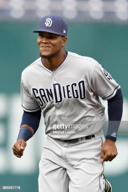 Franchy Cordero of the San Diego Padres warms up before a baseball game against the Washington Nationals at Nationals Park on May 22 2018 in...