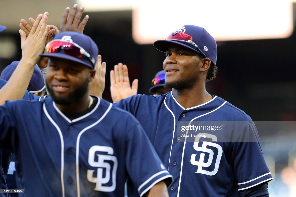 Franchy Cordero #33 San Diego Padres celebrates with teammates after defeating the Washington Nationals 3-1 in a game at Nationals Park on Wednesday, May 23, 2018 in Washington, D.C.