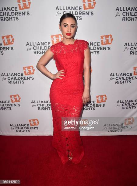 Francia Raisa attends The Alliance For Children's Rights 26th Annual Dinner at The Beverly Hilton Hotel on March 28, 2018 in Beverly Hills,...