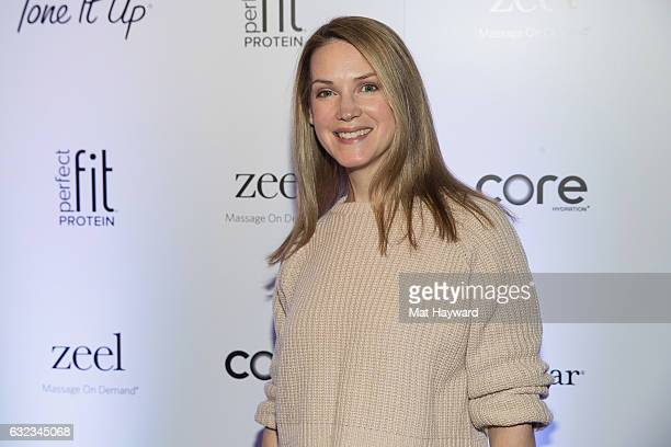 Francie Swift poses for a photo in the Tone It Up Wellness Loung during the Sundance Film Festival on January 21, 2017 in Park City, Utah.
