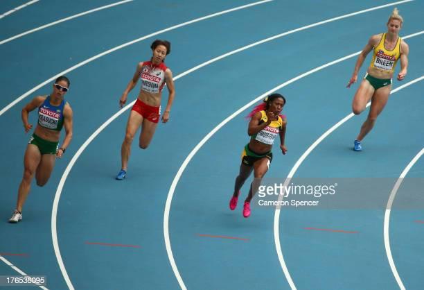Franciela Krasucki of Brazil Chisato Fukushima of Japan ShellyAnn FraserPryce of Jamaica and Melissa Breen of Australia compete in the Women's 200...