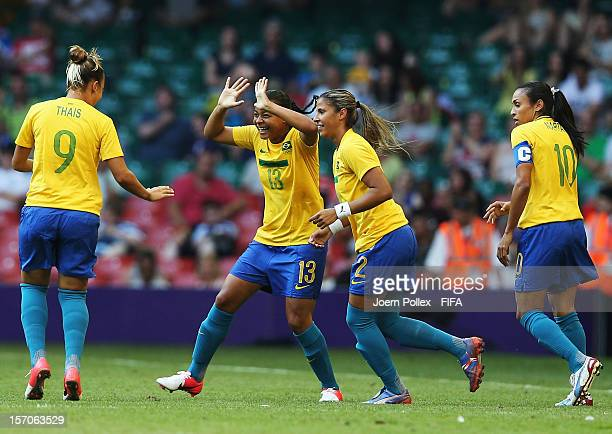Francielle of Brazil celebrates with her team mates afer scoring her team's first goal during Women's Group E match between Cameroon and Brazil on...