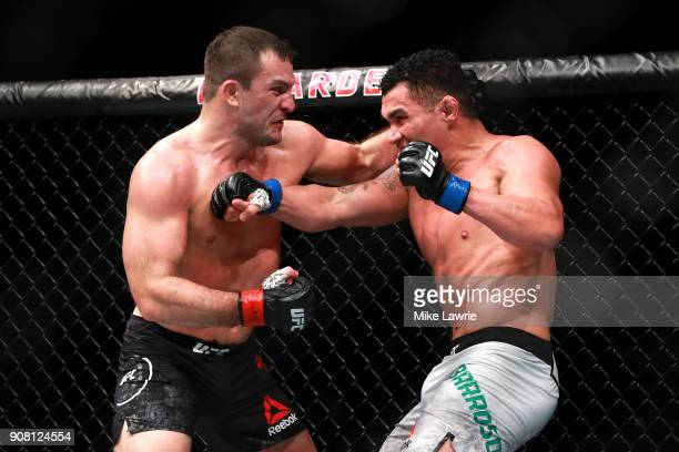 Francimar Barroso throws a punch against Gian Villante in their Light Heavyweight fight during UFC 220 at TD Garden on January 20 2018 in Boston...