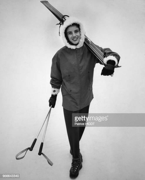 Francine Breaud au ski en janvier 1956 France