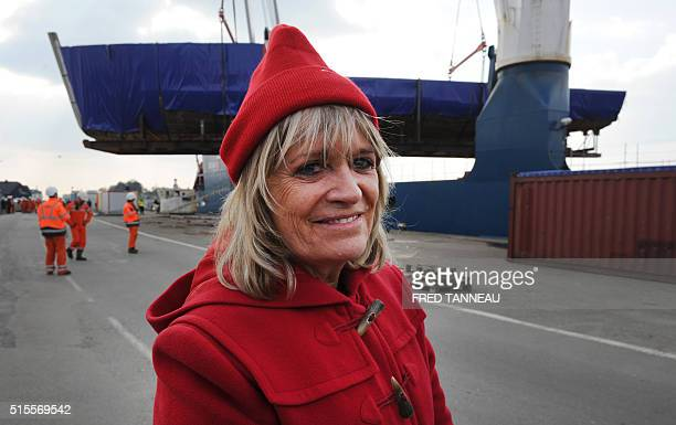 Francine Cousteau widow of French oceanographer JacquesYves Cousteau poses in the port of Concarneau western of France on March 14 as her late...