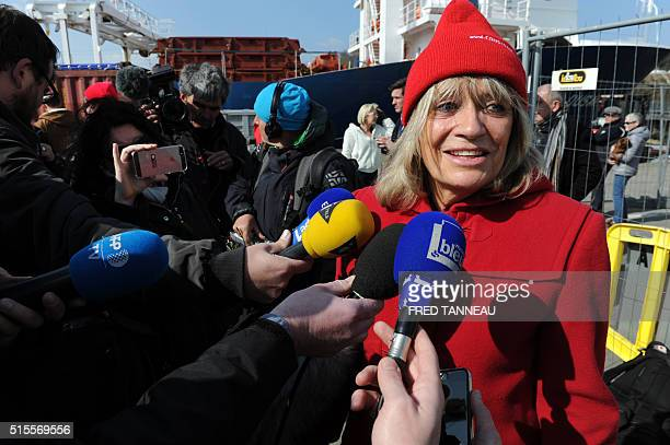 Francine Cousteau widow of French oceanographer JacquesYves Cousteau talks to the press in the port of Concarneau western of France on March 14 as...