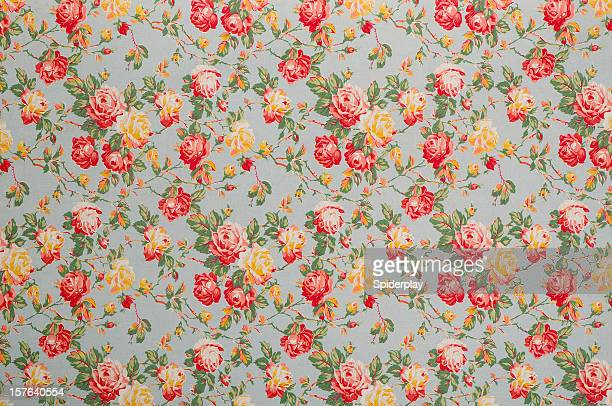 francine floral medium vintage fabric - floral pattern stock pictures, royalty-free photos & images
