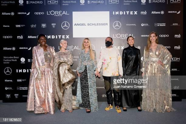 Francine Galvez, Pino Montesdeoca, Cayetana Guillen Cuervo, Juan Carlos Mesa, Yelimar and Cristina Piaget attend Angel Schlesser fashion show during...