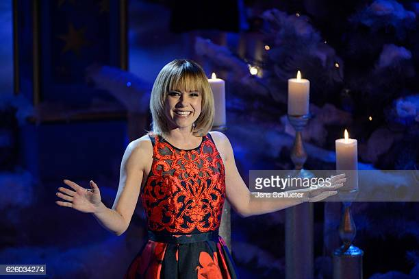 Francine Jordi is seen on stage during the tv show 'Das Adventsfest der 100000 Lichter' on November 26 2016 in Suhl Germany